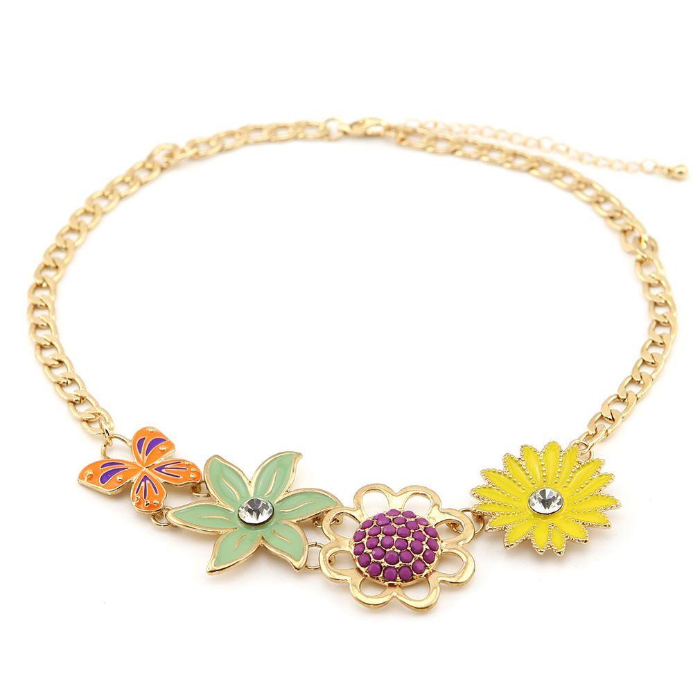 Colorful Flower Statement Necklace Choker Collar Bib Fashion Cheap