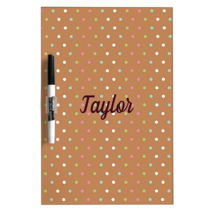 Brown colorful polka dots dry erase board - pattern sample design - dot paper template