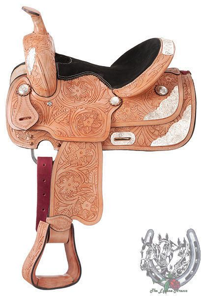 "13"" Light Oil Show Saddle Floral Tooling (Loaded with Silver) by Royal King #RoyalKing"