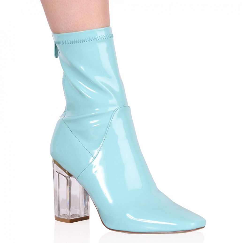 Chloe Perspex Heeled Ankle Boots in