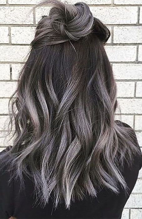 25 Sexy Black Hair With Highlights You Need To Try -   7 hair Grey highlights