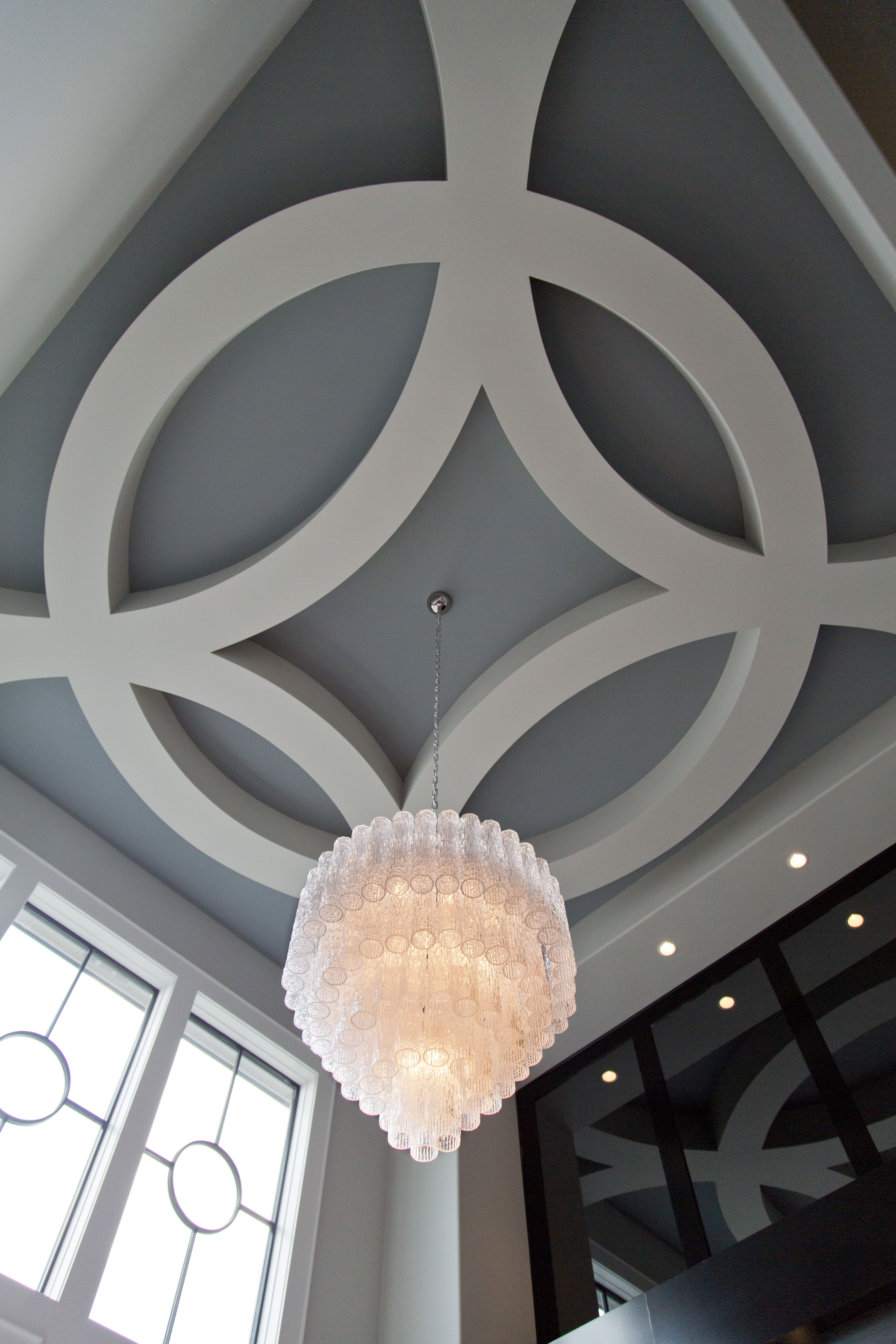 can you have a dream ceiling this one by don julian builders paired with a stunning glass chandelier gives lux glass chandelier living room designs ceiling
