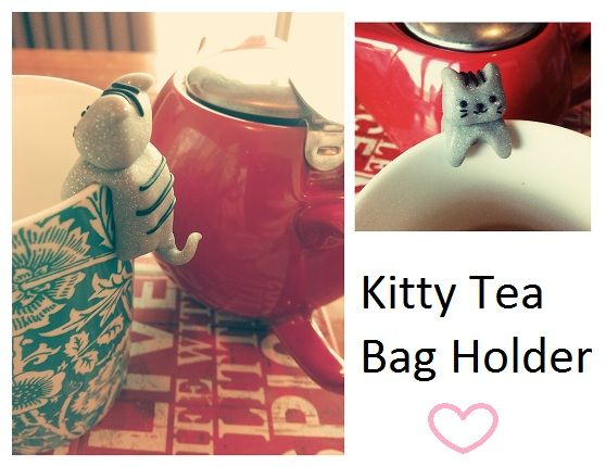 Polymer Clay Kitty to hold your tea bag and stop it from falling into your cup! Hand made from Fimo Effects - Glitter Silver