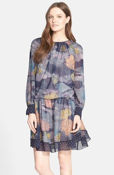 See by Chloé Tree Print Long Sleeve Blouson Dress available at #Nordstrom