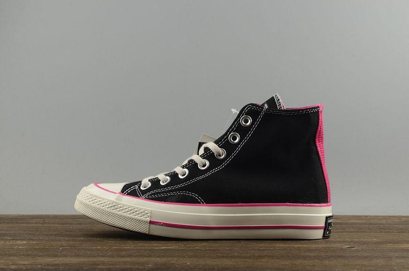 e4f565cc39c2 Discount Women Converse Chuck Taylor All Star 1970s High Black Noir Pink  White blanc 149445 Youth Big Boys Shoes