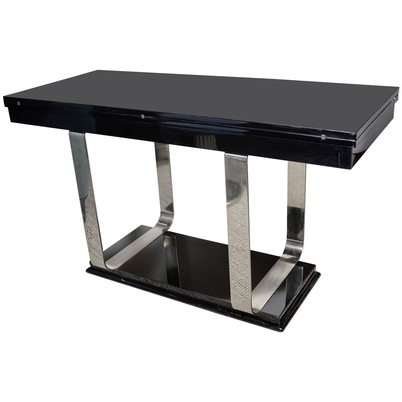 View This Item And Discover Similar Console Tables For Sale At   This Chic  Art Deco Console Converts Simply Into A Dining Table Or Games Table By  Fliping ...