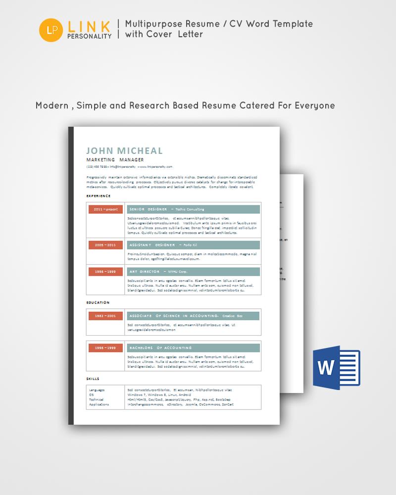 Resume Cv Free Word Download Https Sellfy Com Linkpersonality Resume Cv Word Template Resume