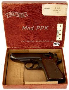 A postwar 7.65mm Walther PPK manufactured at the new plant in Ulm, West Germany, in its original box