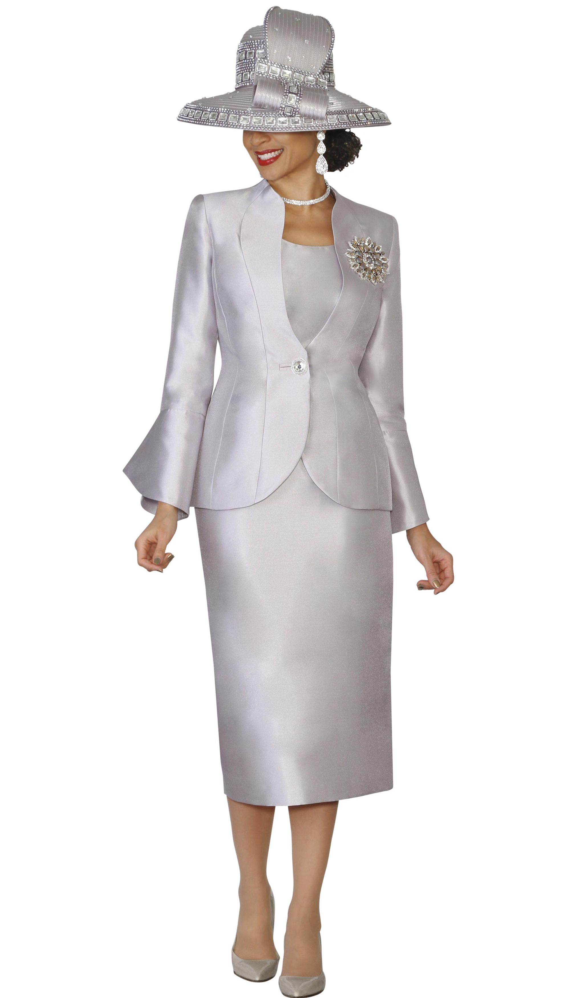 9360d4ebefc9b5 Lily and Taylor 4140-SIL 3 Piece Silky Twill Skirt Suit With Vented Cuff  Sleeves Colors Silver Apple Green Sizes 4 6 8 10 12 14 16 18 20 22 24