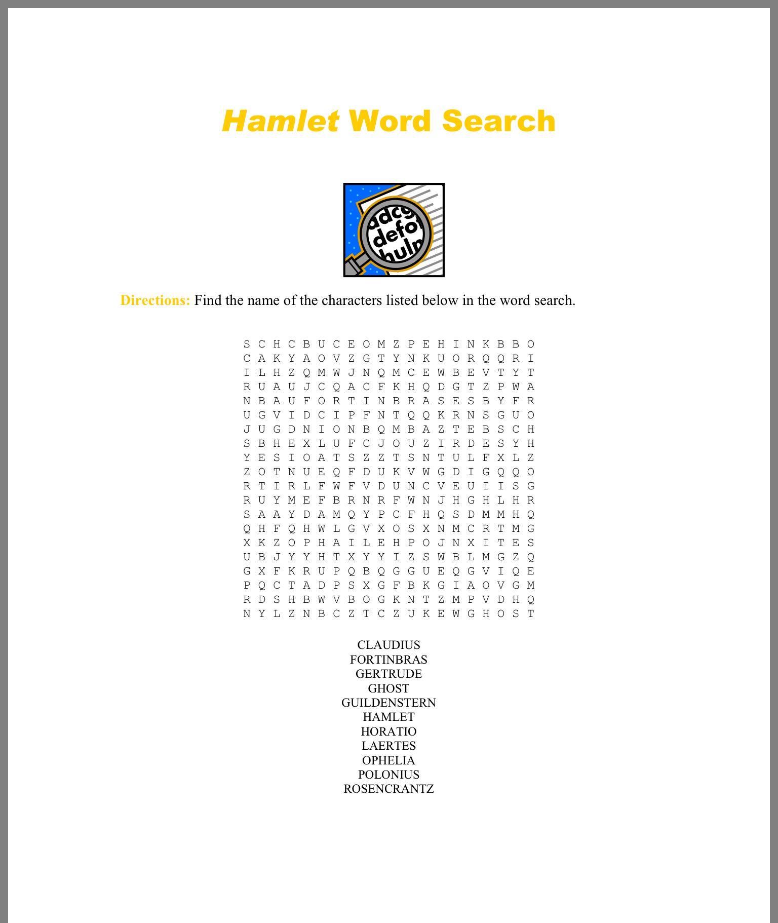 The Lion King And Hamlet Comparison Worksheet