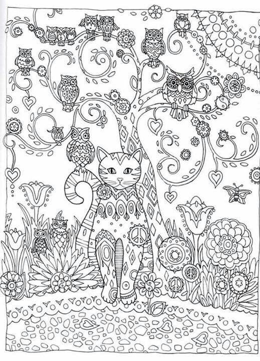 Cat Owl Flower Abstract Doodle Zentangle Paisley Coloring pages colouring adult detailed advanced printable Kleuren voor volwassenen coloriage pour adulte anti-stress kleurplaat voor volwassenen Line Art Black and White