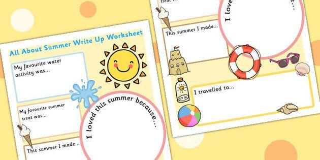 Summer Holiday Write Up Worksheet – Holiday Worksheets