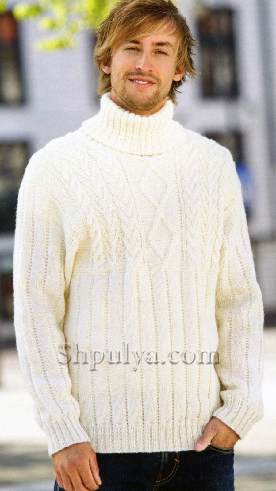 1f8fdda70a93 www.SHPULYA.com - Мужской белый свитер, вязаный спицами | вязание ...