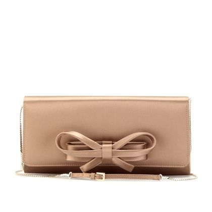 mytheresa.com - Valentino - SATIN STRUCTURED BOW CLUTCH - Luxury Fashion for Women / Designer clothing, shoes, bags - StyleSays