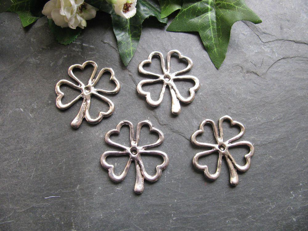 4 Metallanhänger Kleeblatt in silber, 3,2 cm, Schmuck herstellen, Glücksklee
