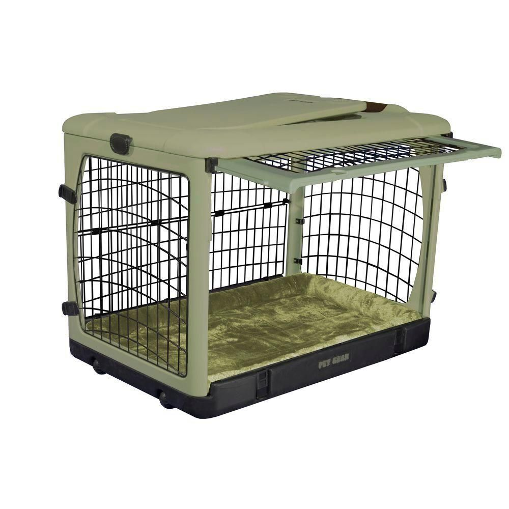 Pet Gear 36 5 In X 24 5 In X 27 5 In The Other Door Steel Crate With Plush Pad Pg5936bsg Steel Dog Crate Dog Crate Pet Gear