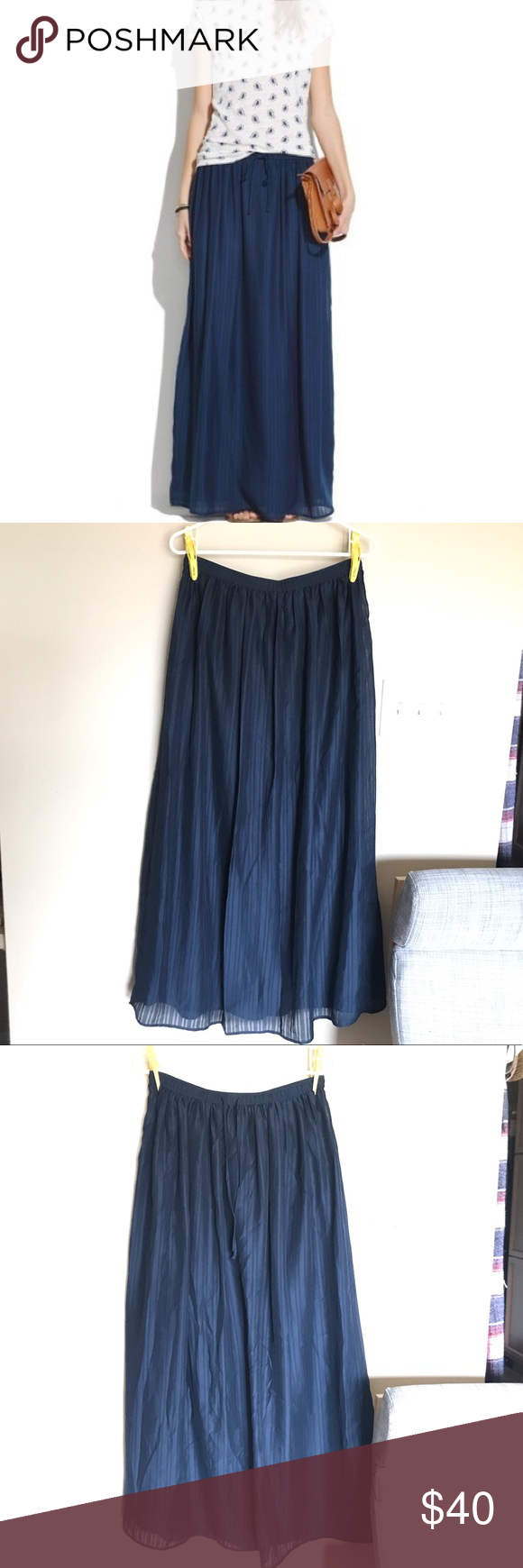a0b67607d Madewell | skyward skirt Navy blue maxi skirt with waist tie and piped  detail. Perfect