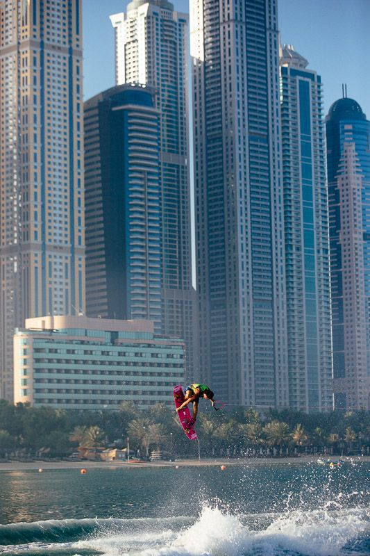 When Harley rode in front of the Dubai Marina I knew we had to get a shot with his pink board against the massive skyscrapers. That view is one of the most visually unique I've ever photographed