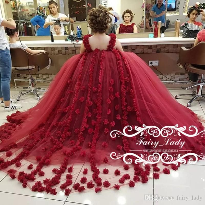 4ec50a16cb5 2017 Burgundy Girls Sweet 16 Birthday Quinceanera Dresses Puffy Ball Gown 3D -Floral Appliques Handmade Flowers Beading Party Pageant