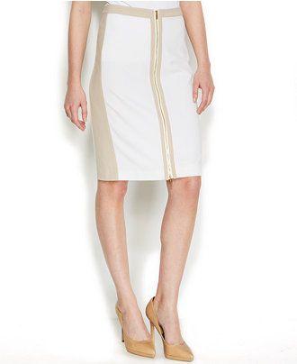 d4225f343f789 Calvin Klein Zippered Two-Tone Pencil Skirt - Skirts - Women - Macy s