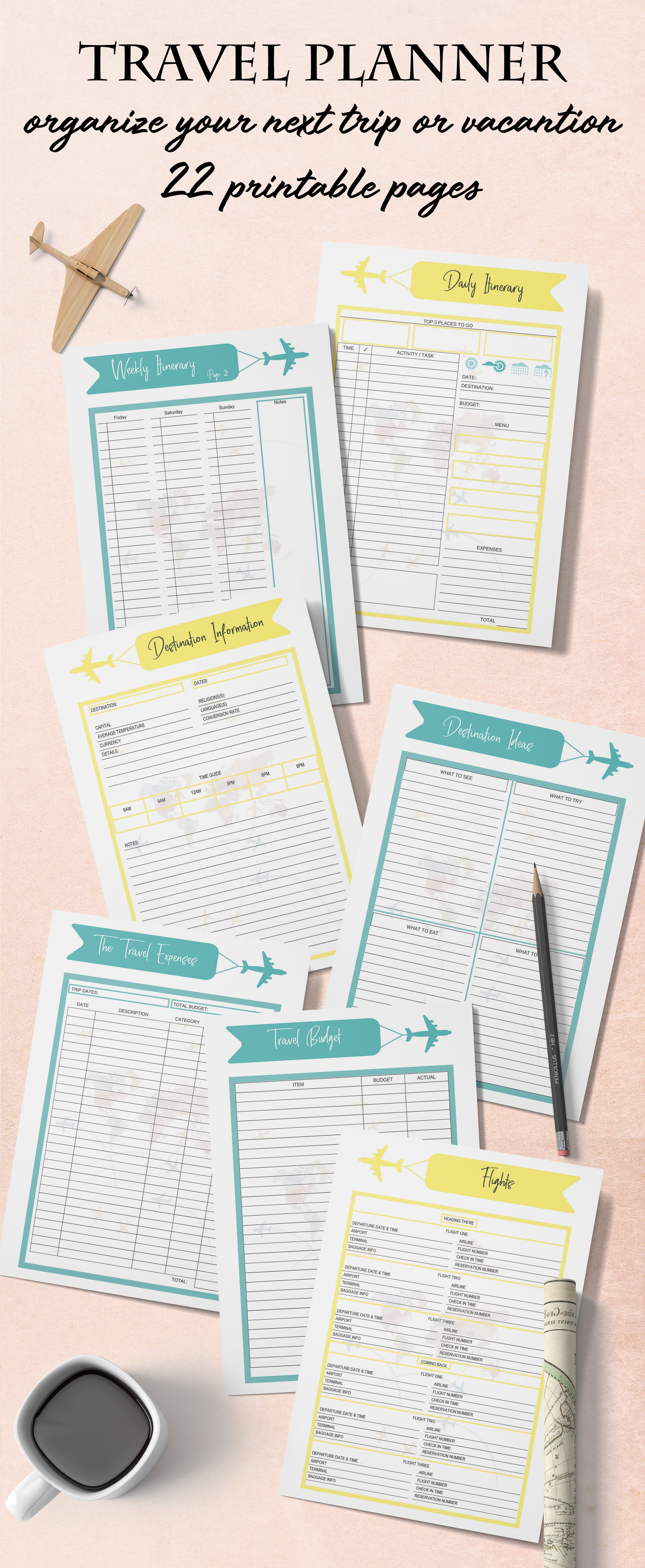 graphic regarding Printable Road Trip Planner titled Generate Planner Printable, Highway Vacation Planner, Holiday