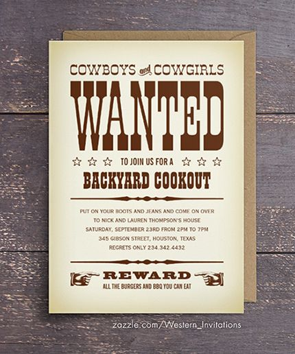 Western Wanted Poster Party Invitations Adult Birthday Invitations
