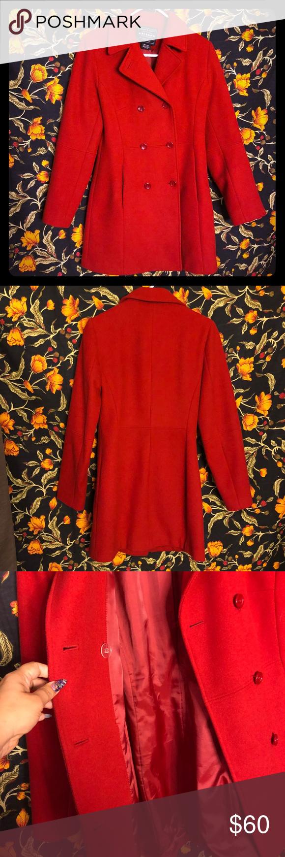 Arizona brand 100 wool red pea coat size Small Red pea
