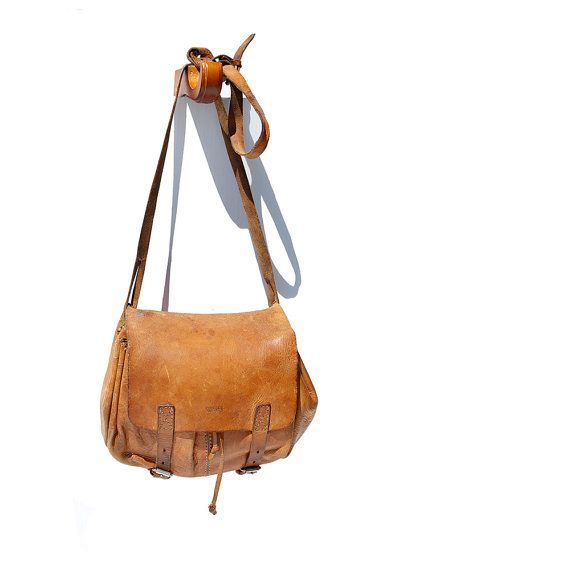 BREE Tan Leather Cross Body Bucket Bag by TanakaVintage on Etsy