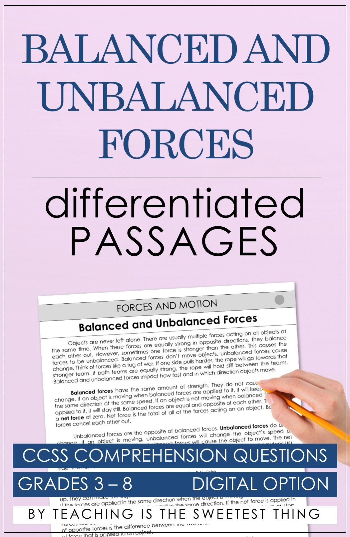 Forces And Motion Passages Science Lessons And Ideas Pinterest