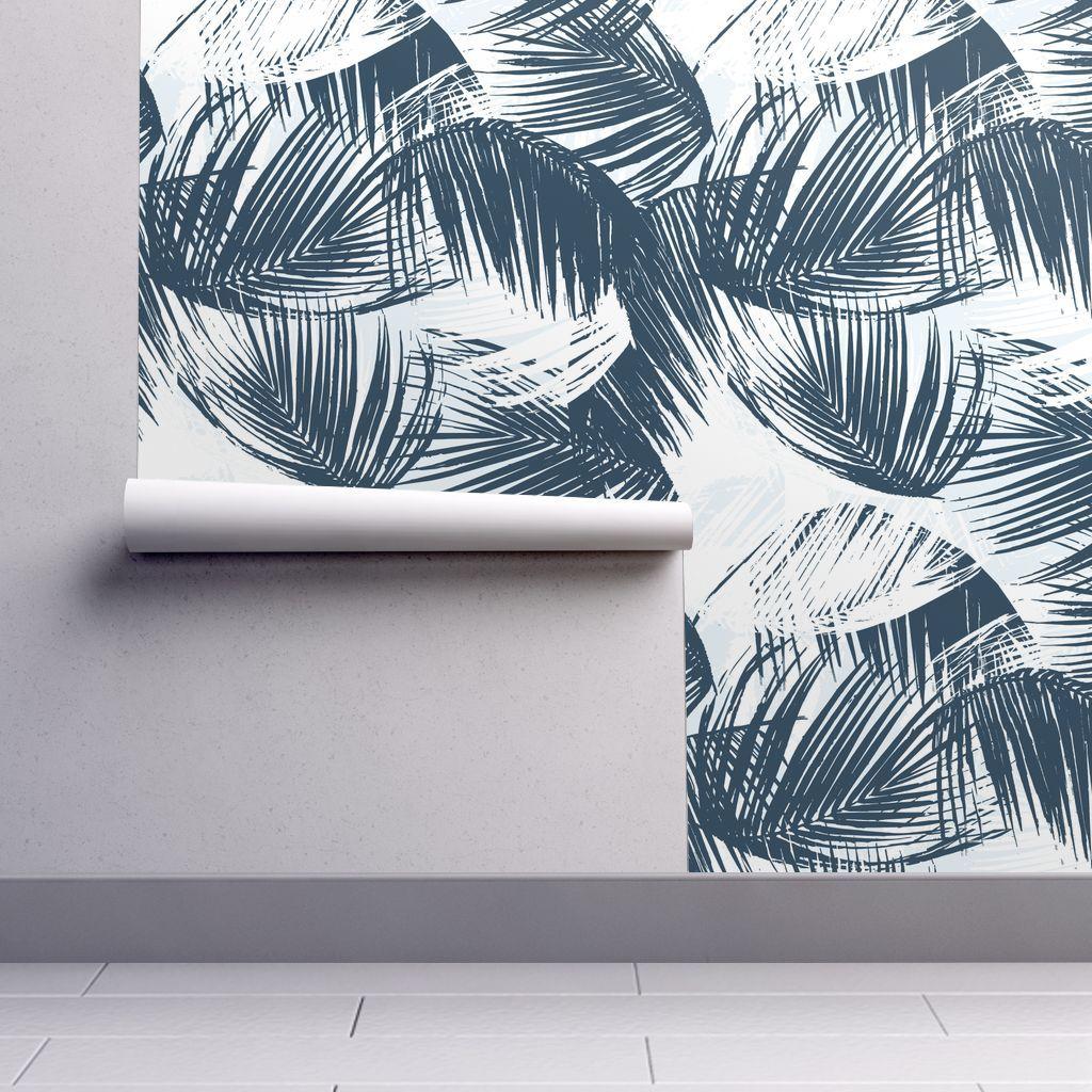 Wallpaper Blue Palm Palm leaf wallpaper, Wallpaper