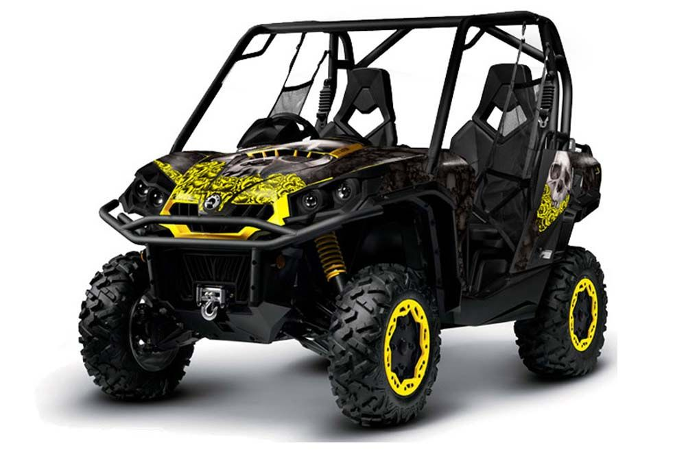 can am commander 2011 side by side bone collector black yellow graphic kit in stock now. Black Bedroom Furniture Sets. Home Design Ideas