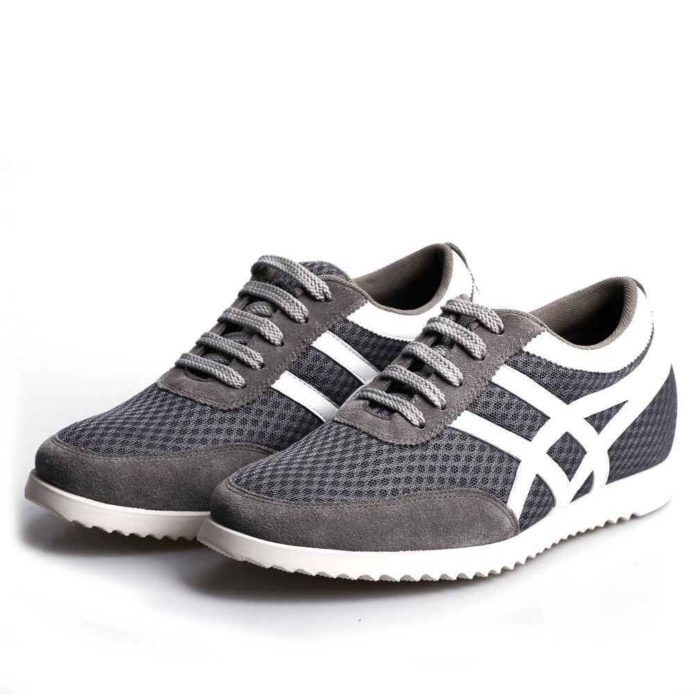 Cheap fashion men Gray/white Sport elevator shoes men,the elevators shoes that make you look taller 5.5cm instantly & invisibly.