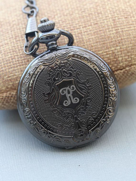Personalized Black Pocket Watch Groomsmen Pocket by emmalocketshop