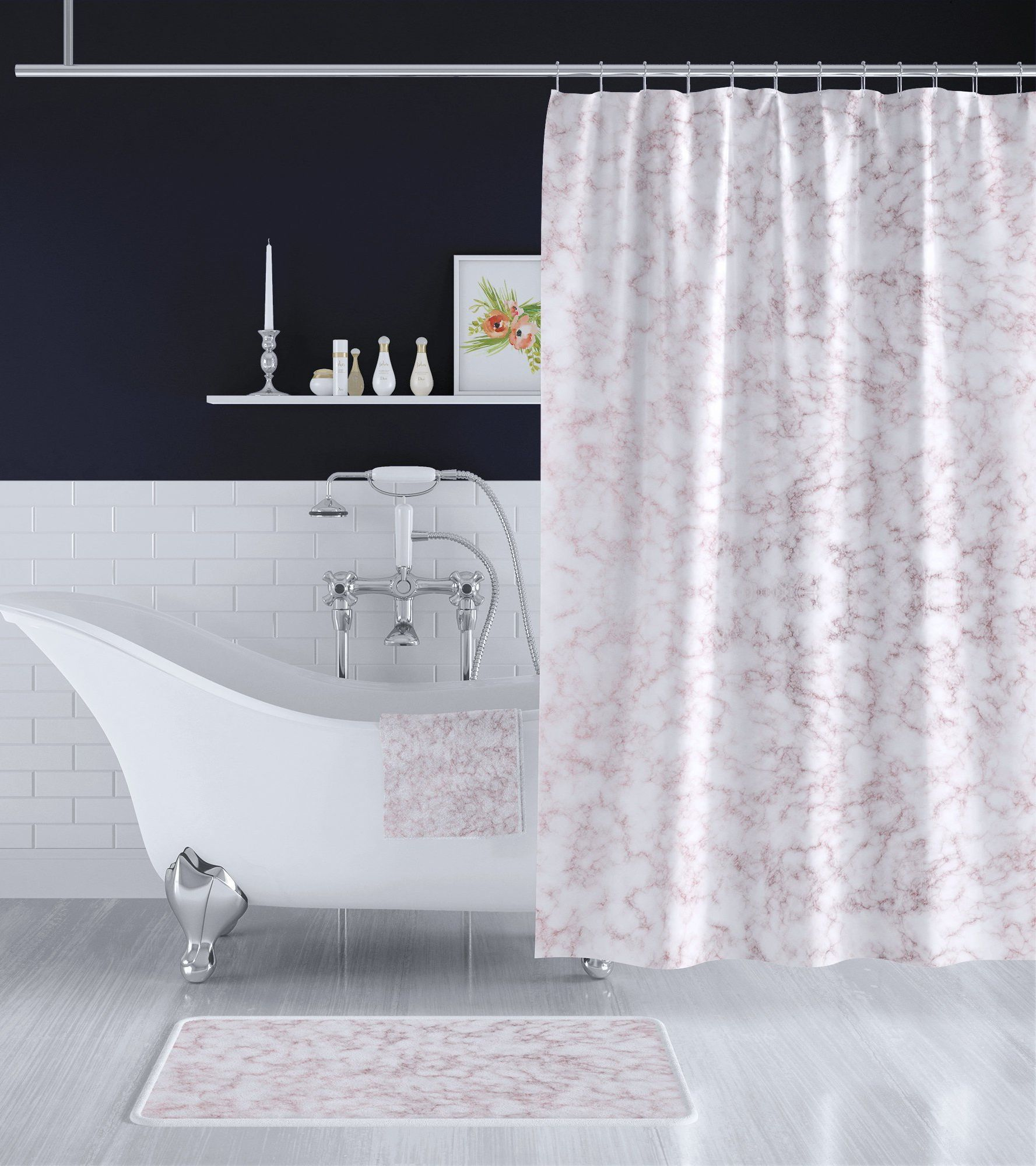 Rose Gold White Marble Bathroom Decor Set Long Shower Curtain Bath Towel Bath Mat Matching Compl White Marble Bathrooms Marble Bathroom Bathroom Decor Sets