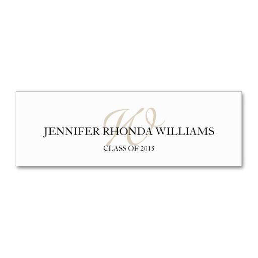 Chic Florish Monogram Student Graduation Name Card Zazzle Com Name Cards Card Template Custom Business Cards