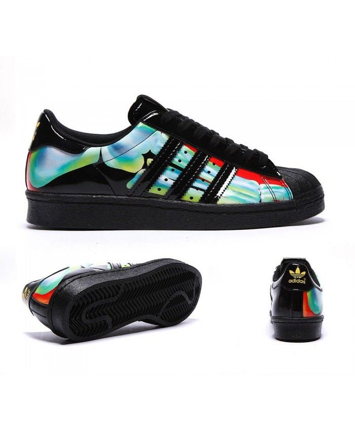 099fd31ae Womens Adidas Originals Superstar 80 s Rita Ora Black and Bright Yellow  Trainer