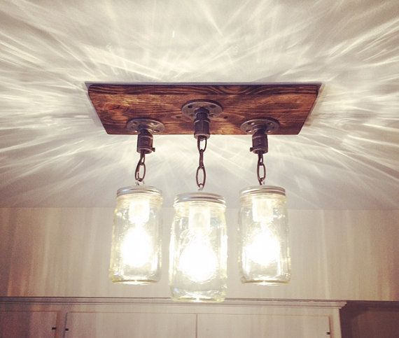 3 Country Style Pendant Vanity Light Fixture: Industrial/Rustic Handmade 3 Mason Jars Wood Chandelier