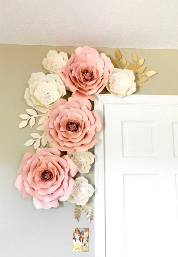 How To Make An Original Headboard For The Nursery Paper Flower Wall Decor White Paper Flowers Flower Wall Decor