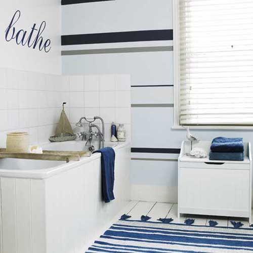 67 Cool Blue Bathroom Design Paredes pintadas con rayas para