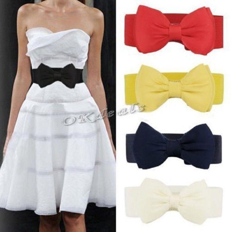 1 Pcs Fashion Stretch Bowknot Women Waist Belt Lady Bowknot Waistband Elastic