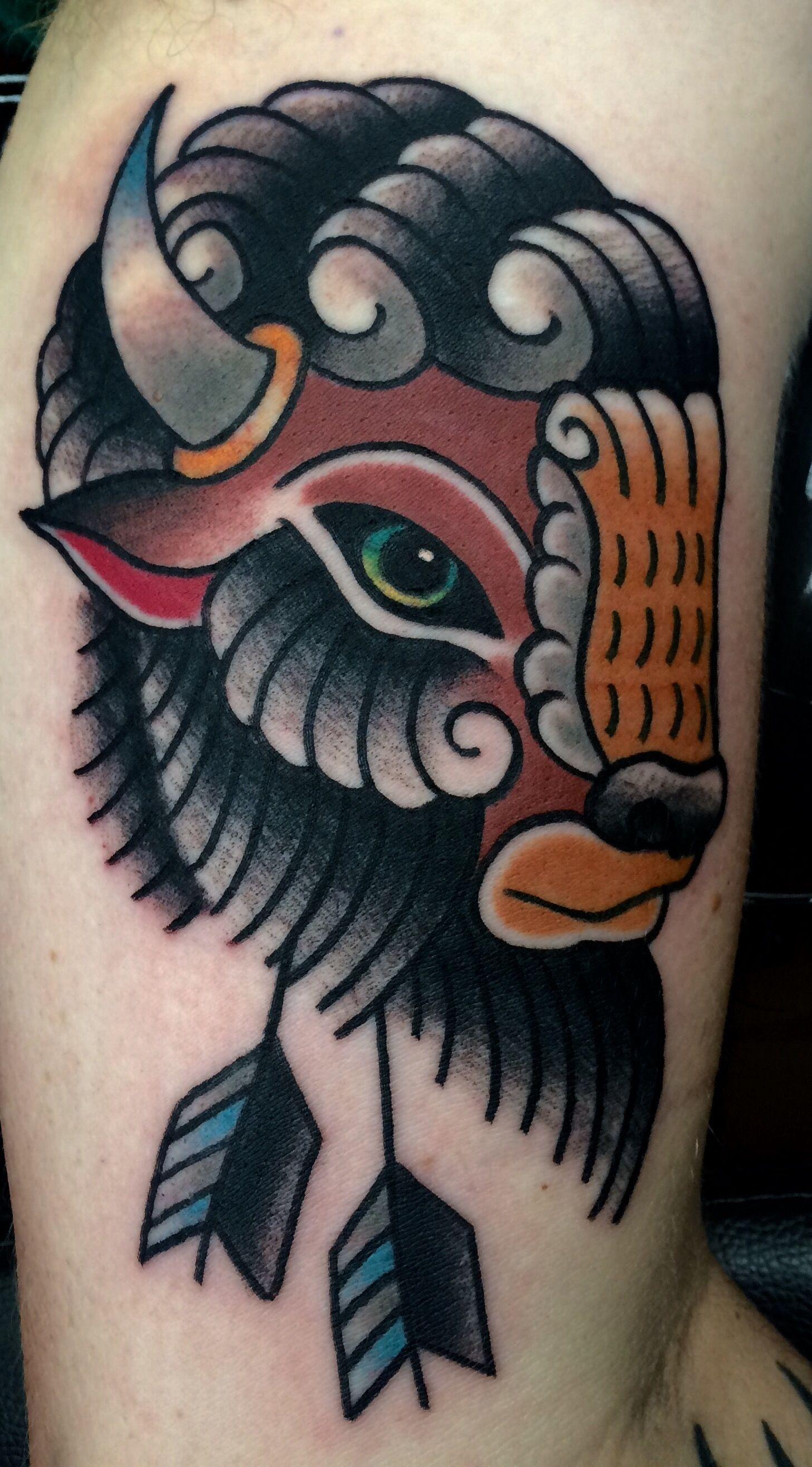 Buffalo Tattoo By Tony Nos Traditional Tattoo Animals Buffalo Tattoo Traditional Style Tattoo