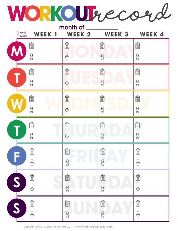 Using a Workout Record Fitness Tracker and writing down each workout is motivating and allows you to...