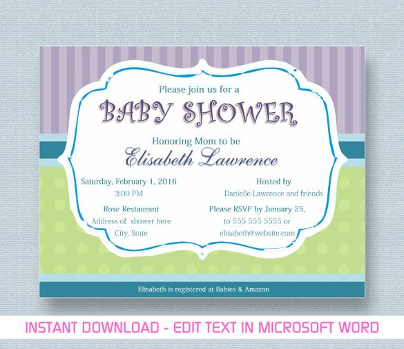 Baby Shower Invitations For Word Templates Unique 10 Baby Shower Invitation Templates  Free Printable Word & Pdf .