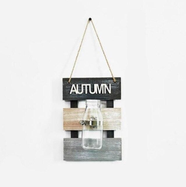 Photo of Nordic Creative Wall Hanging Glass Hydroponic Plants Vase with Wooden Base Flower Pot Scindapsus Container Home Wall Decoration – Autumn