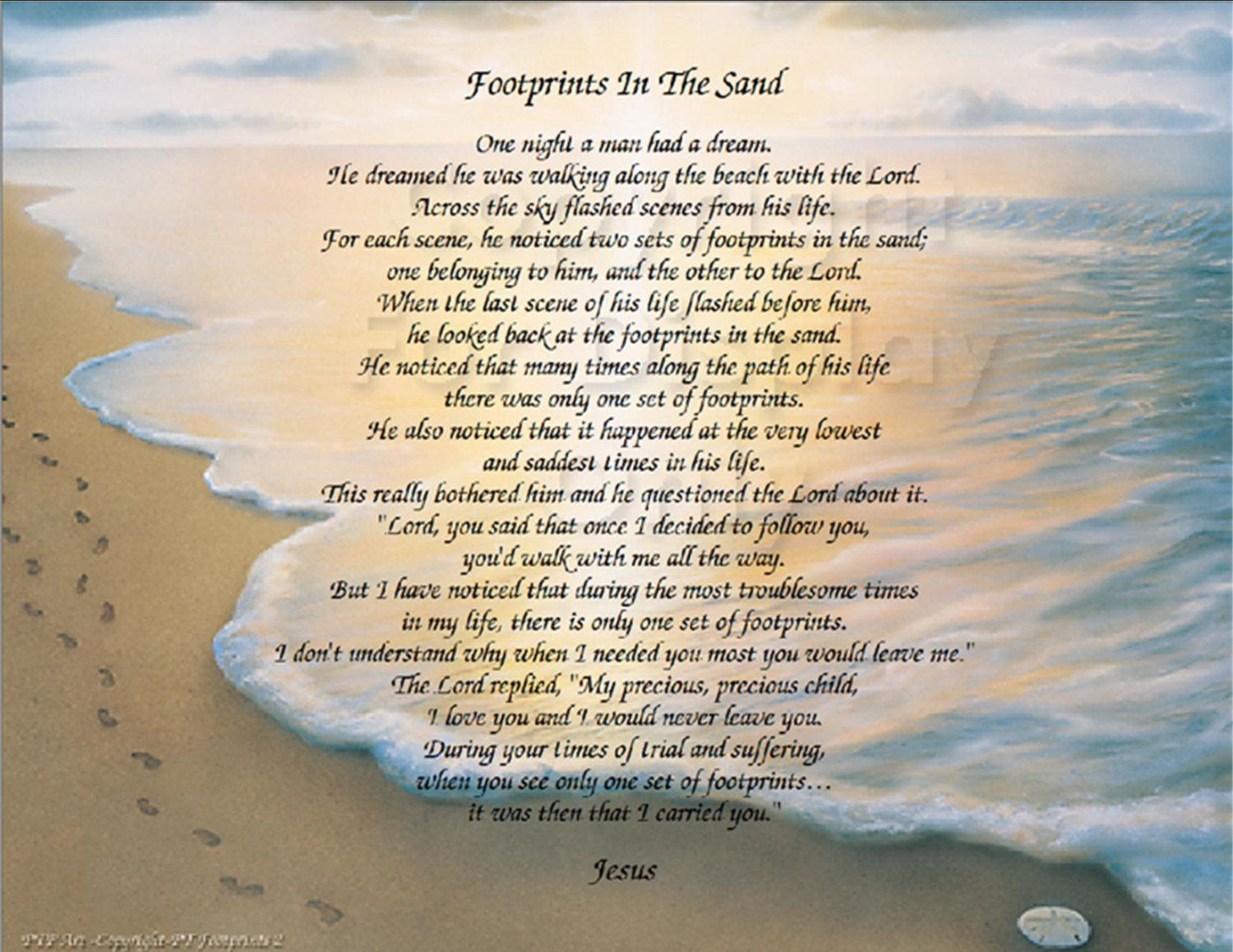The Footprints In The Sand Poem Inspirational Print