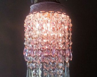Jeweled Roses Crystal Waterfall Pink Chandelier Shabby Romantic - Ceiling lamp made by chemistry test tubes