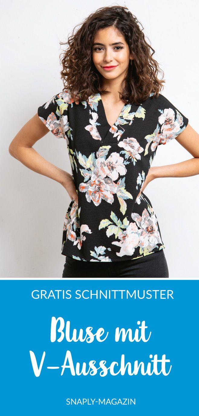 Kostenloses Schnittmuster für eine Bluse mit V-Ausschnitt | Snaply-Magazin
