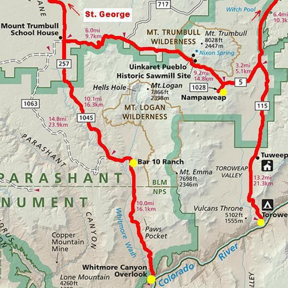 Map Of Arizona Strip.The Arizona Strip Map Arizona Strip Map Route The Arizona Strip