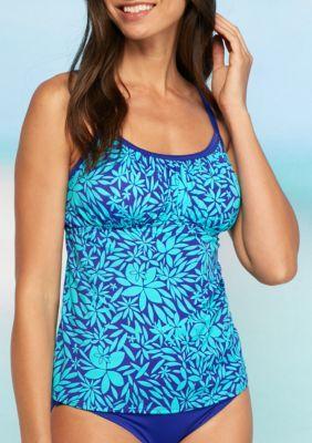 d1c7b08372fd2 Kim Rogers Women's Tossed Petal Shirred Tankini - Bright Indigo - Xl