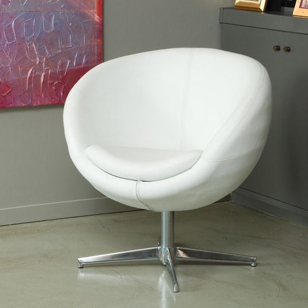 Lovely Christopher Knight Home Modern White Leather Roundback Chair   Overstock™  Shopping   Great Deals On